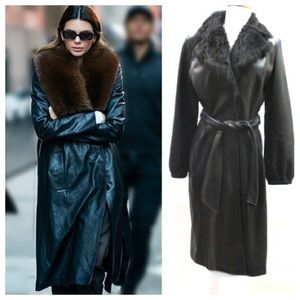 KENNETH COLE Leather & Shearling Lined Trench